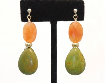 Green Turquoise with Red Aventurine earrings orange faceted beads on Gold posts for COURAGE, KINDNESS & CREATIVITY