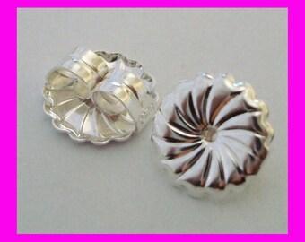 20pcs 7mm Premium swirl round huge backing sterling Silver earring nutz backing back e81