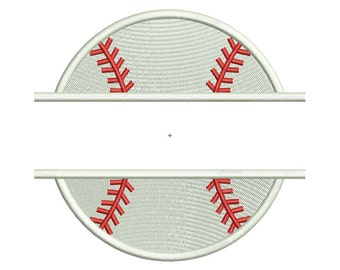Split Baseball or Softball Machine Embroidery Design - 3 Sizes