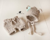 Knit Bear Bonnet and Short Set for Baby, Beautiful Newborn Photography Prop