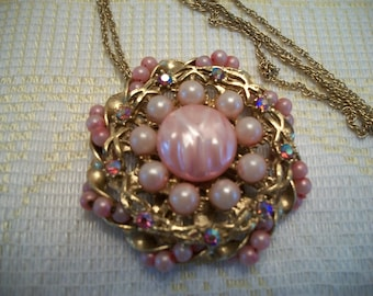 Pink Pearl and Rhinestone Necklace