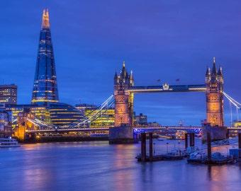 London Photography -- Tower Bridge and Shard,  London Art, London Print, London Skyline