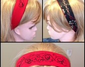 Black Red Barbed Wire floral upcycled rockabilly retro reversible headband