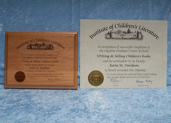Certificate Plaque, solid red alder, FREE custom engraving