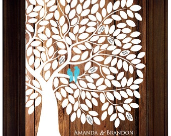 Guest Book Alternative Guest Book Tree Wood Wedding Tree Guestbook Wedding Tree Poster Rustic Wedding Guest Book Love Birds Themed Wedding