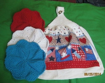 Hand Knitted Top Kitchen Towel Dishcloth gift set Red White and Blue - New