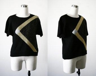1980's Black Knit, Gold Silver Metallic Summer Knit, Short Sleeve Knit S M