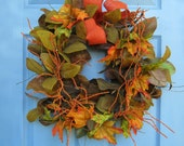 Large Autumn Very Full Floral Door or Wall Wreath or Centerpiece Fall Berries FREE SHIPPING Next Business Day