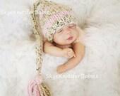 Knit Baby Elf Hat, Baby Stocking Hat, Baby Girl Elf Hat, Newborn Photo Prop