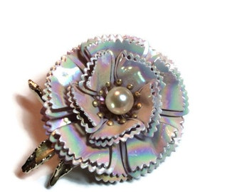 Iridescent White Enameled Brooch