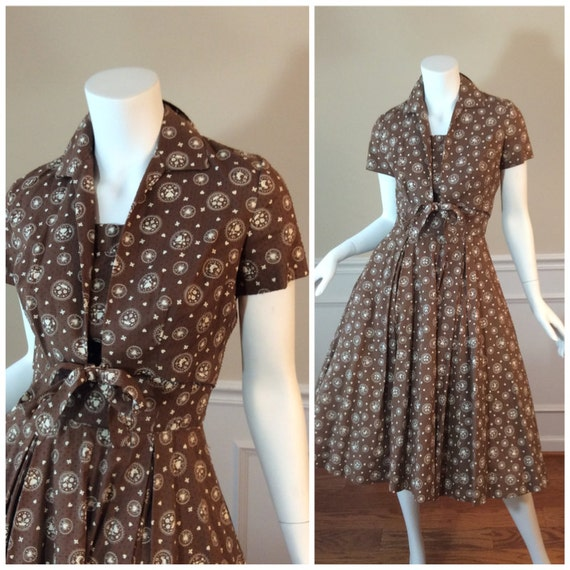 vintage 1950s dress with matching top by Jerry Gilden Spectator