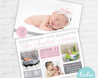 Modern Monogram Double Sided Photo Birth Announcement - Printable