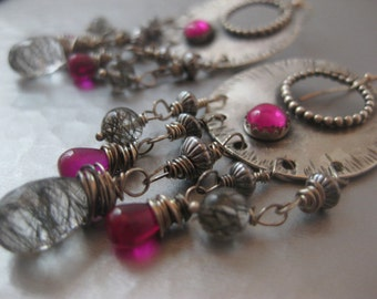Sterling Silver Chandelier Earrings with Pink Quartz and Tourmalinated quartz and ruby