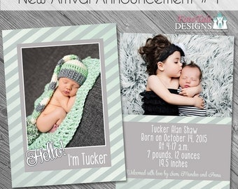 INSTANT DOWNLOAD - New Arrival Birth Announcement 4- double-sided 5x7 templates for photographers on WHCC and Millers Lab specs