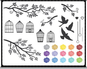 Birds, Branches, Cages, Flowers - Creative Pack - Digital Clip Art - Instant Downloads
