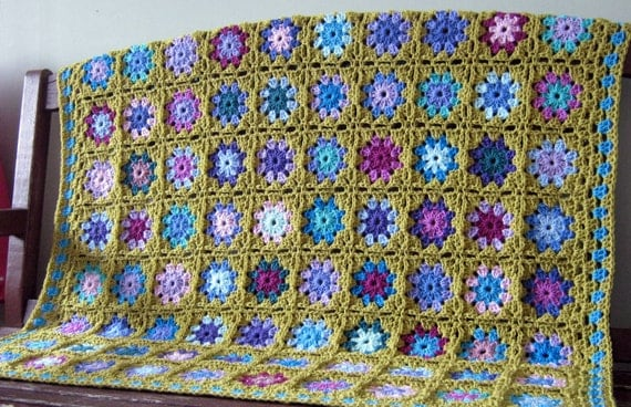 Crochet Blanket Green Granny Squares Sofa Throw In Stock Ready to Dispatch