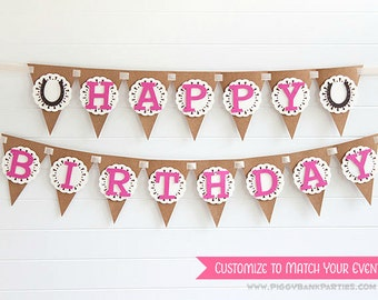 Happy Birthday Doily Banner : Vintage Birthday Garland | Rustic Birthday Sign | Photo Prop | Horse Party Decoration | CUSTOMIZE the STYLE
