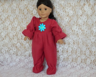 """Red Fleece Footies Pajamas Blue Flower Made to Fit Dolls Like Gotz or American Girl - Doll Clothes 18"""""""
