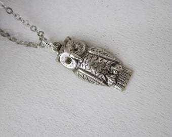Little Owl Necklace - Antiqued Silver Bird Charm Necklace Silver Chain