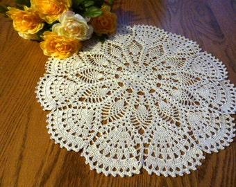 Cream handmade doily.Summer,gift,decoration,gift idea,table decoration.
