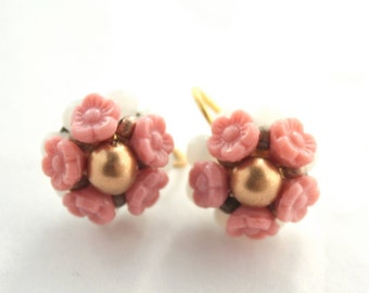 Vintage Pink and White Flower Screw Back Clip on Earrings-New Old Stock-Brass-Jewelry Supply