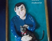 OOAK  Man and Cat Polymer Clay Portrait, Remake, Reprodution, Tiger Cat, Personal,