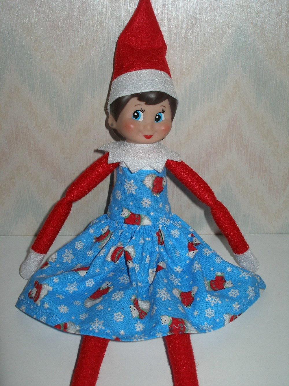 Elf on the Shelf clothes Blue red and white polar bear