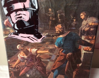 "ROBOCOP -- collage, stencil, spray paint (Original Painting #7) -- 8"" x 10"""