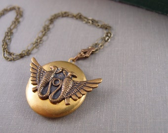 Egyptian Horus Bird goddess vintage locket, aged brass locket, round locket, N010