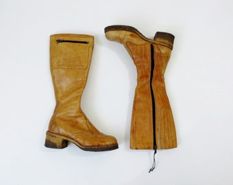 Vintage Boots 1970s Boots / Zodiac Boots / Tall Boots Boho Boots / Knee high Boots / Brown Leather Shoes Boots / Crepe Soles 7