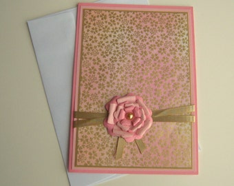 Mothers Day Card Birthday Card Any Occasion Customizable Card Pink Peach and Gold Floral Blank Inside- You Choose Sentiment on Front