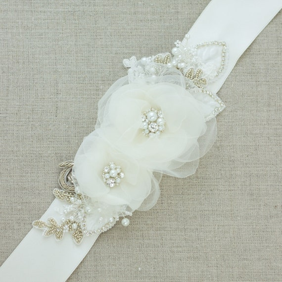 Flower Belts For Wedding Dresses: Wedding Belts And Sashes Floral Belt Floral Sash Bridal Belt
