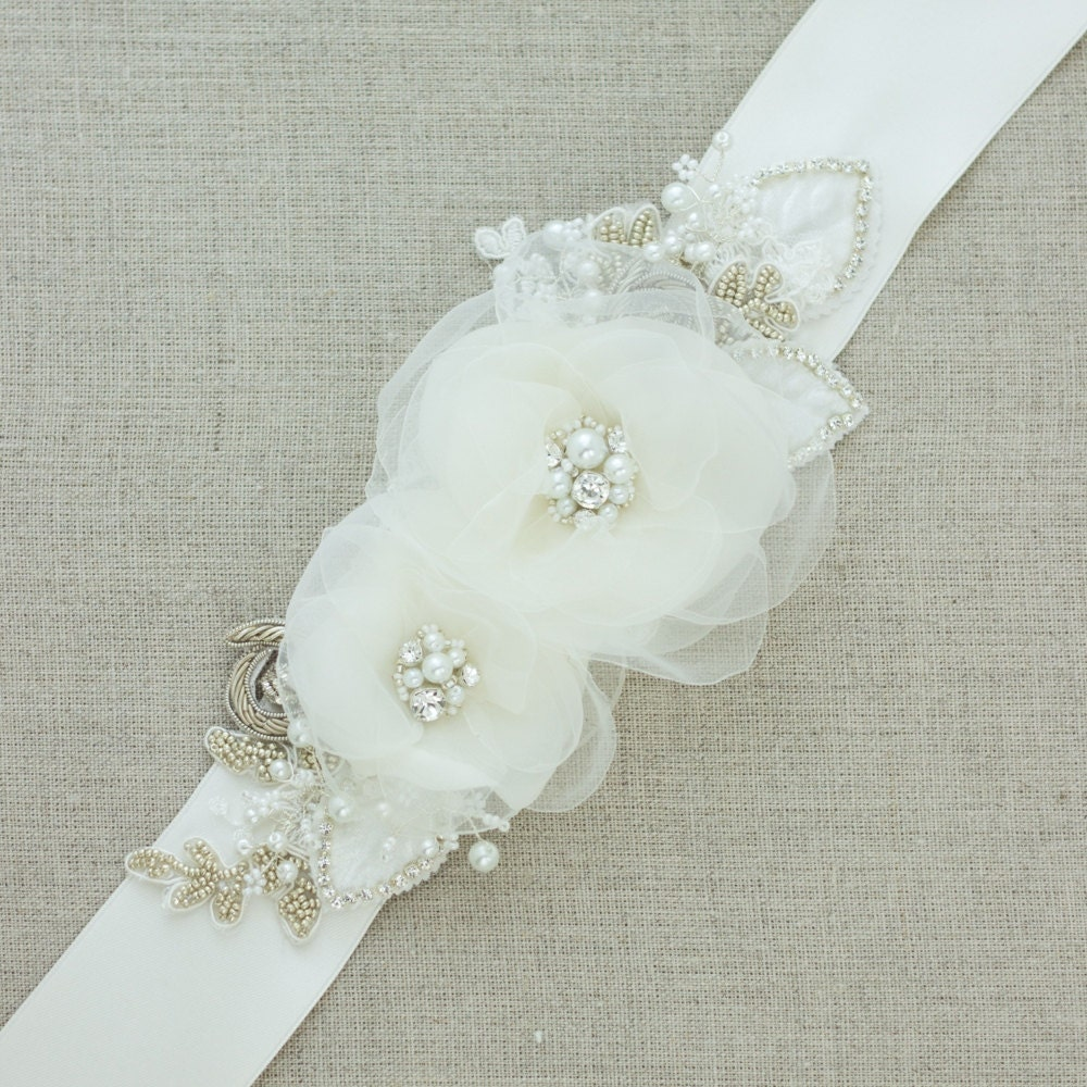 Wedding belts and sashes floral belt floral sash bridal belt for Wedding dress belt sash