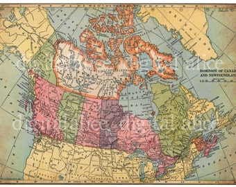 VINTAGE 1938 CANADA MAP -Canadian Instant Download Digital Printable-  - 8.5 x 11 in - DiY Print as many as you like