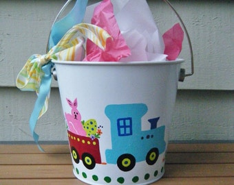 Easter Bucket Painted with Train and Easter Rabbit, Personalized, Hand Painted Choo Choo Train, Easter Decor, Nursery Decor