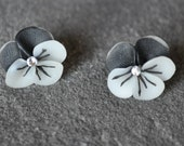 Pansy Earrings with Swarovski Crystal Centers by Kim Lugar