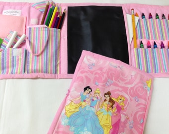 Pink Princess Art Tote complete with chalkboard, chalk, eraser, paper pad, pencil, crayons, and colored pencils