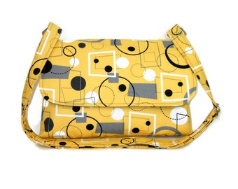 Small Yellow Purse, Fabric Cross Body Bag, Retro Print Crossbody, Small Messenger Purse,  Retro Geometric Print in Yellow, Gray and Black