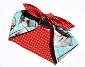 Vintage Inspired Head Scarf, I Heart Elvis! Reversible, Retro, Rockabilly