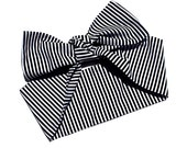 Vintage Inspired Head Scarf, Black and White Stripes, Retro, 1950s