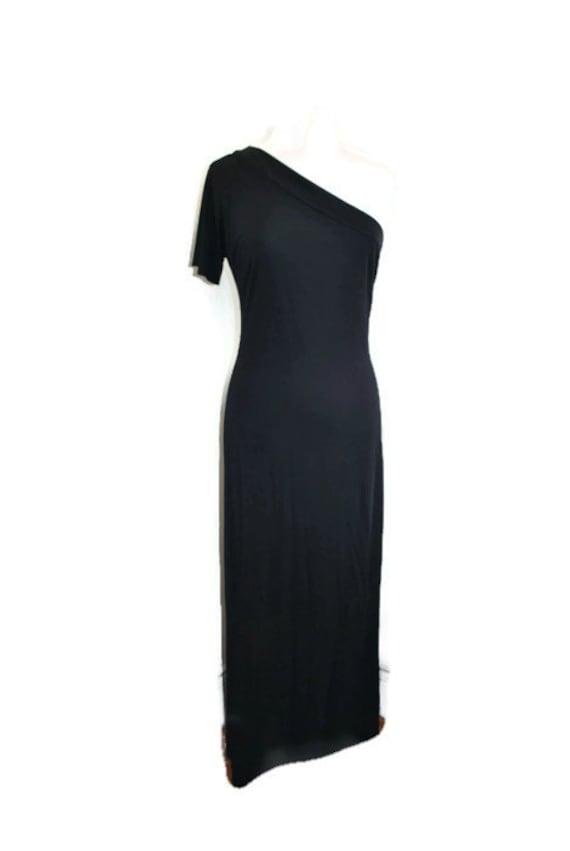 vintage 90s black off the shoulder BCBG maxi dress