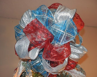 Large Christmas Tree topper bow 3 ribbons Teal, red and silver 8 ft tails
