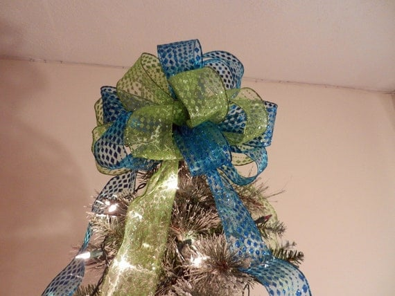 Modern Colors Large Christmas Tree Topper Bow Made Of 2 Sheer