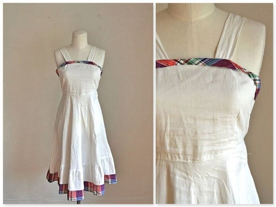 50% OFF...last call // vintage 1940s sundress -  PIQUE & PLAID 40s cotton pinafore dress / xs