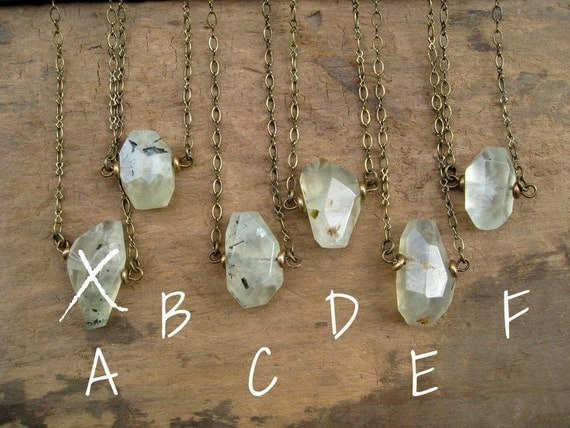 Rustic Prehnite Necklace, pale green stone necklace with antiqued brass, great bridesmaid necklace for rustic weddings