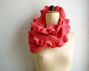 Coral Infinity Scarf with Ruffles Crochet Loop Scarf Cowl