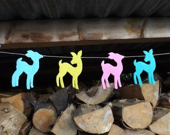 Baby Deer Garland, Felt Garland, Baby Deer Nursery, Woodland Baby shower Woodland Baby, Woodland Nursery,Pastel Nursery, Fawn, New Baby Gift