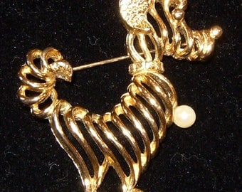 Retro Goldtone Terrier Dog Brooch with Faux Pearl