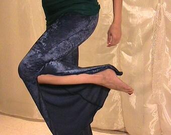 SALE!! ATS,  Tribal Belly dance and Festival side split flare pants in Blue snowflake patterned velvet SALE!!