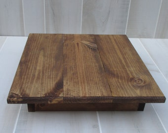 "Wood Cake Stand Wedding Rustic Cake Stand 16""x16"" x4"" Woodland Cake Display Home Decor"